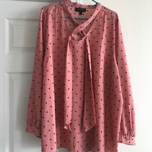 Blush polka dot blouse